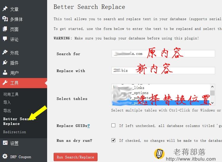 利用Better Search Replace插件